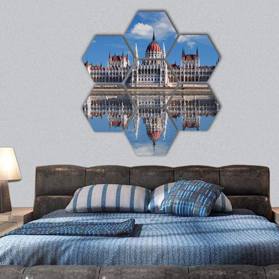 Hungarian Parliament With Reflection In Danube River Hexagonal Canvas Wall Art 1 Hexa / Small / Gallery Wrap Tiaracle