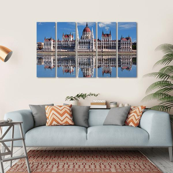 Hungarian Parliament With Reflection In Danube River Multi Panel Canvas Wall Art-1 Piece-Small-Gallery Wrap-Tiaracle