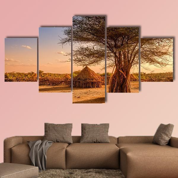 Huts In A Hamer Village In The Sunset Light Multi Panel Canvas Wall Art 3 Pieces / Medium / Canvas Tiaracle