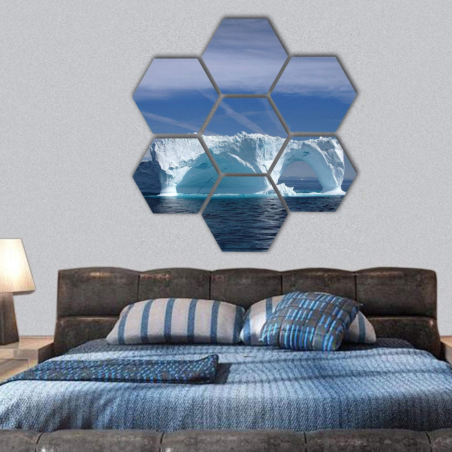 Iceberg Off The Coast Of Greenland Hexagonal Canvas Wall Art 1 Hexa / Small / Gallery Wrap Tiaracle