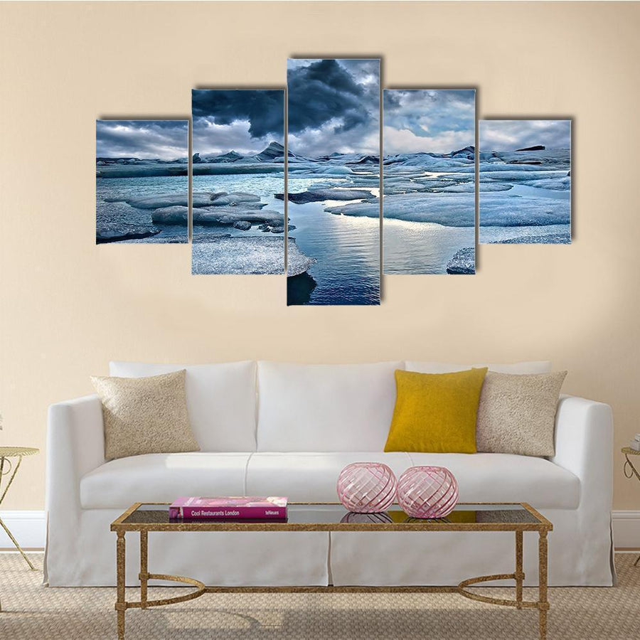 Icebergs At Jokulsarlon Glacial Lagoon Canvas Panel Painting Tiaracle