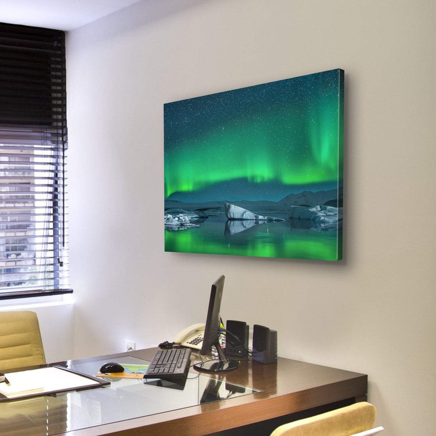 Icebergs Under The Northern Lights Canvas Panel Painting Tiaracle
