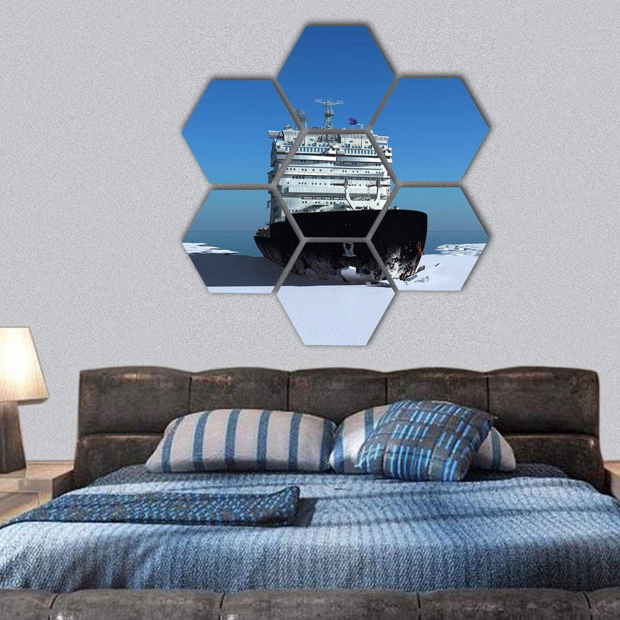 Icebreaker Ship On The Ice In The Sea Hexagonal Canvas Wall Art 1 Hexa / Small / Gallery Wrap Tiaracle