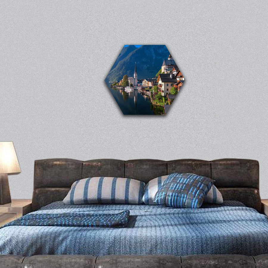 Idyllic Alpine Lake Village Hallstatt Hexagonal Canvas Wall Art 7 Hexa / Small / Gallery Wrap Tiaracle