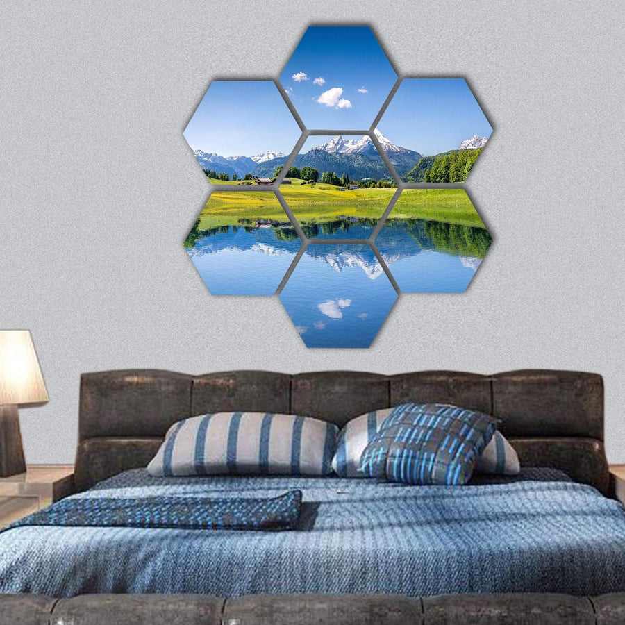 Idyllic Summer Landscape In The Alps With Clear Mountain Lake Hexagonal Canvas Wall Art 1 Hexa / Small / Gallery Wrap Tiaracle