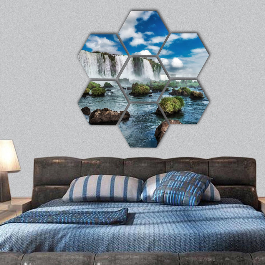 Iguacu Falls In Brazil Hexagonal Canvas Wall Art-1 Hexa-Small-Gallery Wrap-Tiaracle