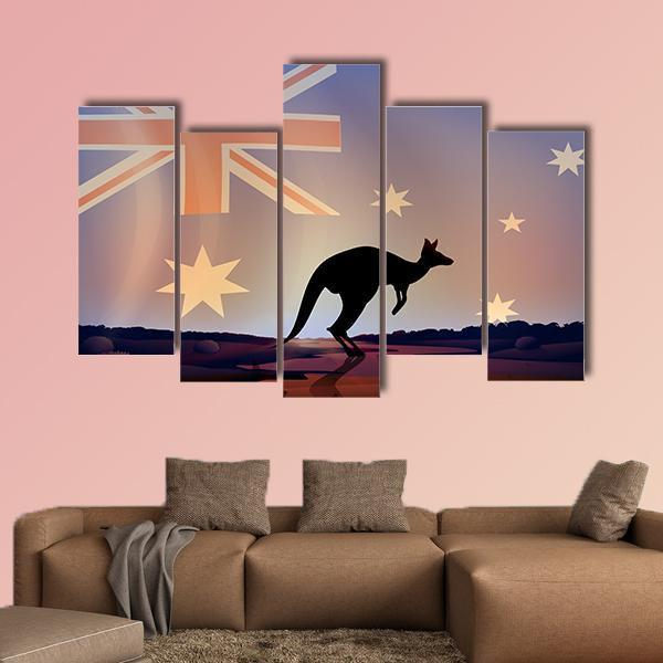 Illustration Of An Australian Flag And A Kangaroo Multi Panel Canvas Wall Art 3 Pieces / Medium / Canvas Tiaracle