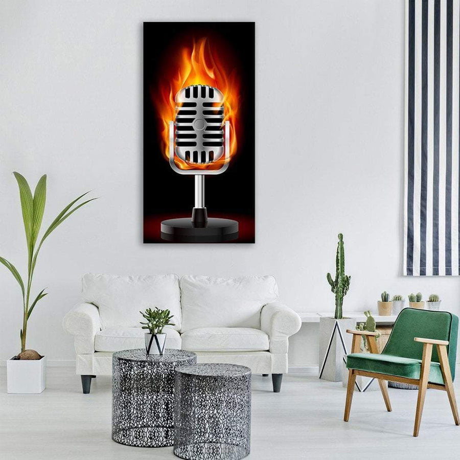 Illustration Of Old Microphone In Fire Vertical Canvas Wall Art 3 Vertical / Small / Gallery Wrap Tiaracle