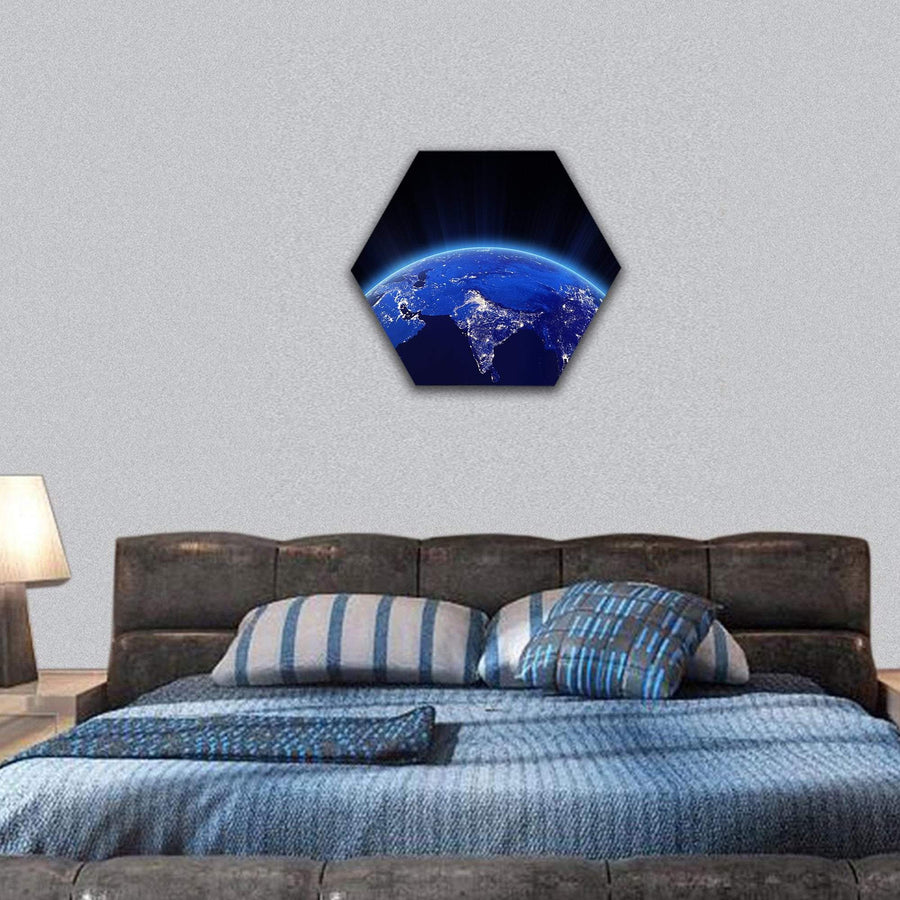 India City Lights At Night Hexagonal Canvas Wall Art 7 Hexa / Small / Gallery Wrap Tiaracle
