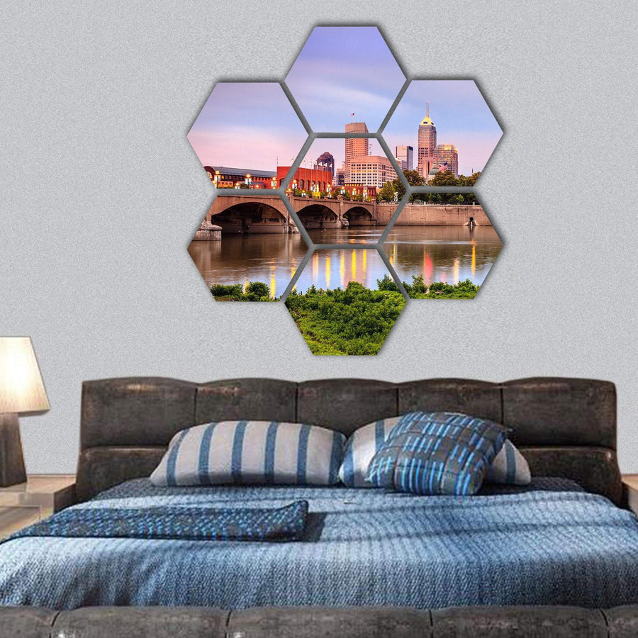 Indianapolis Skyline And White River Hexagonal Canvas Wall Art 1 Hexa / Small / Gallery Wrap Tiaracle