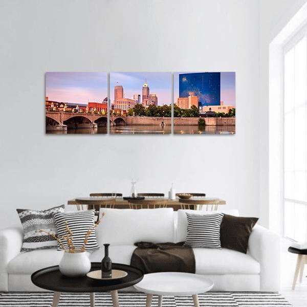 Indianapolis Skyline At Sunset Panoramic Canvas Wall Art 1 Piece / Small Tiaracle