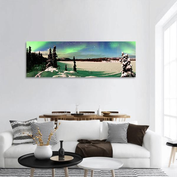 Intense Northern Lights In Alaska Panoramic Canvas Wall Art 3 Piece / Small Tiaracle