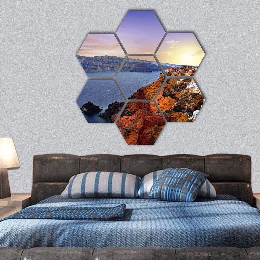 Island Of Santorini At Sunset Hexagonal Canvas Wall Art 1 Hexa / Small / Gallery Wrap Tiaracle