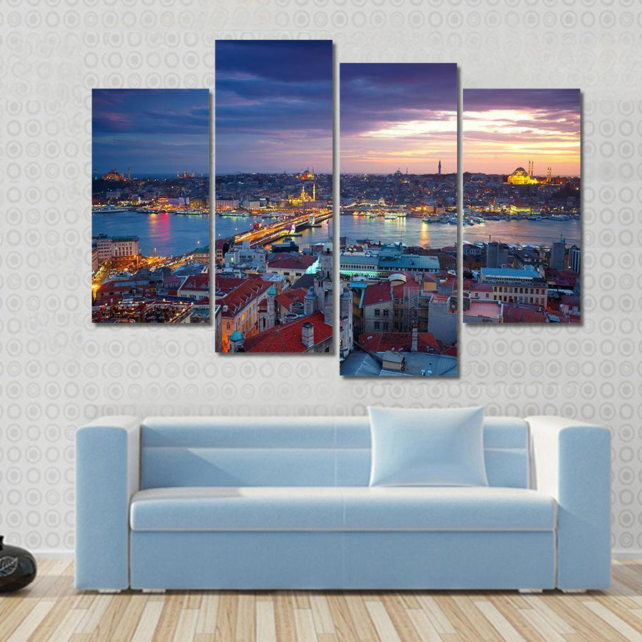 Beautiful Istanbul Sunset Panorama Canvas Panel Painting Tiaracle