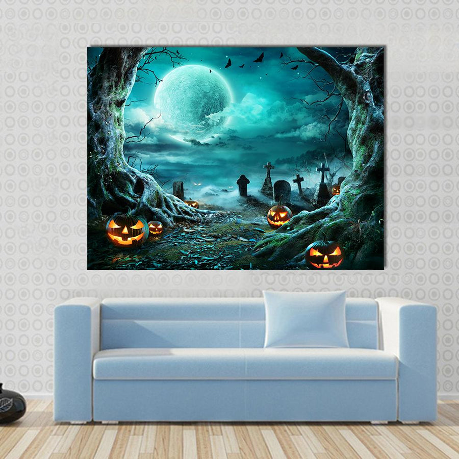 Jack O Lantern In Cemetery In Spooky Night Multi Panel Canvas Wall Art 4 Square / Small / Gallery Wrap Tiaracle