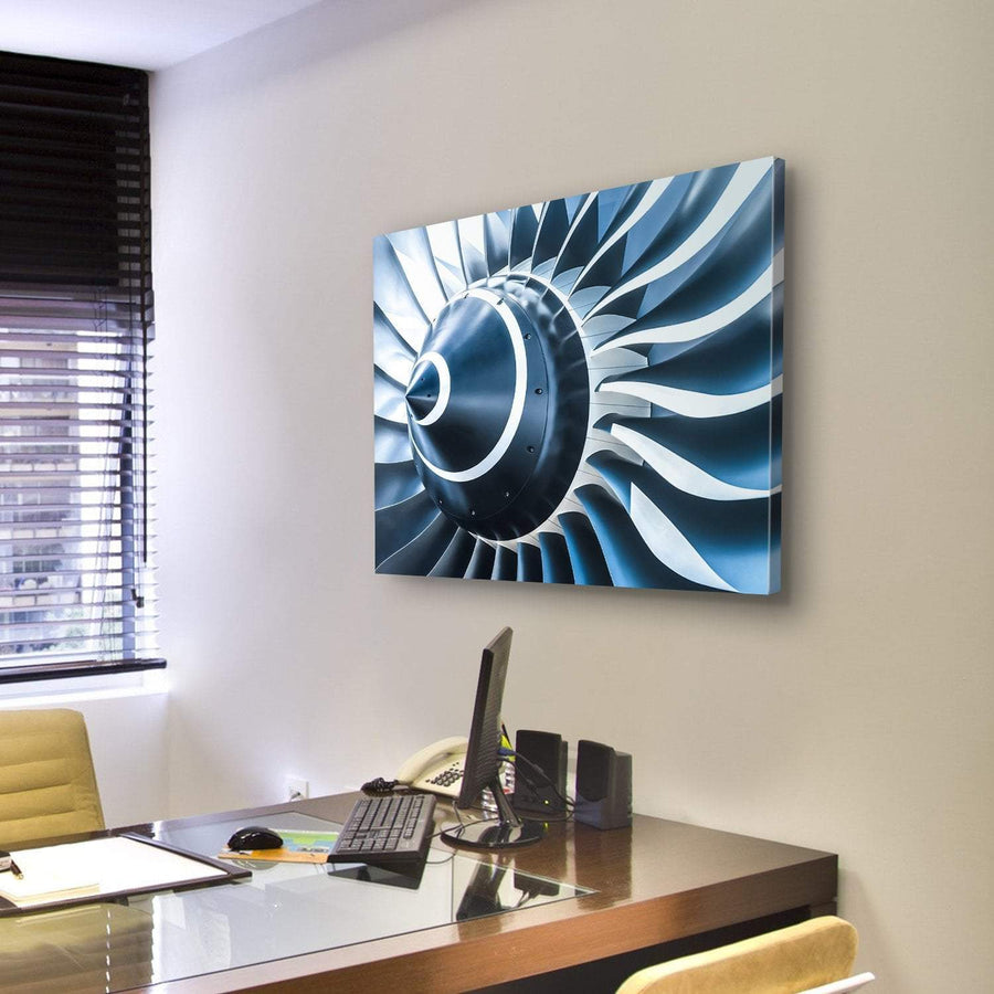 Blue Tone Jet Engine Blades Closeup Canvas Panel Painting Tiaracle