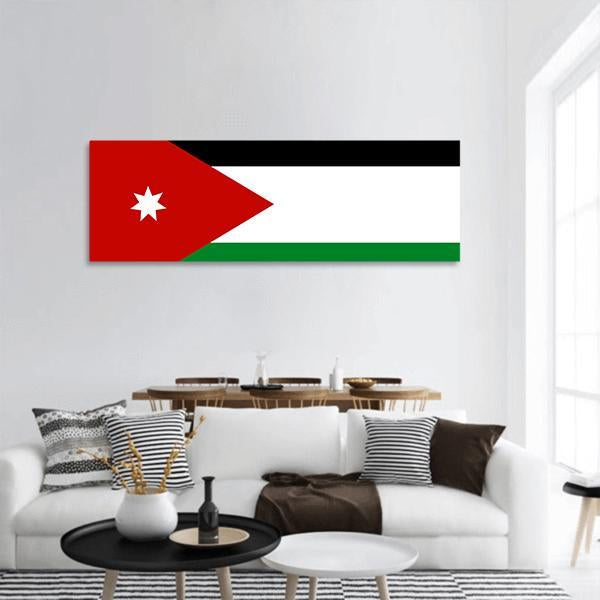 Jordan Flag Panoramic Canvas Wall Art 3 Piece / Small Tiaracle