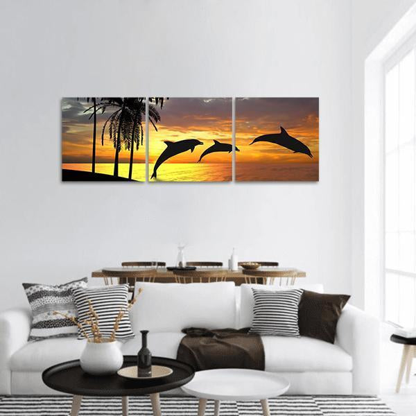 Jumping Dolphins At Sunset Panoramic Canvas Wall Art 1 Piece / Small Tiaracle