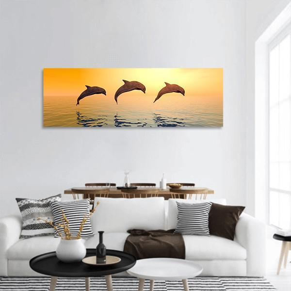 Jumping Dolphins Panoramic Canvas Wall Art 3 Piece / Small Tiaracle