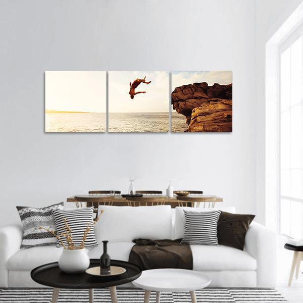 Jumping Into The Ocean At Sunset Panoramic Canvas Wall Art 1 Piece / Small Tiaracle