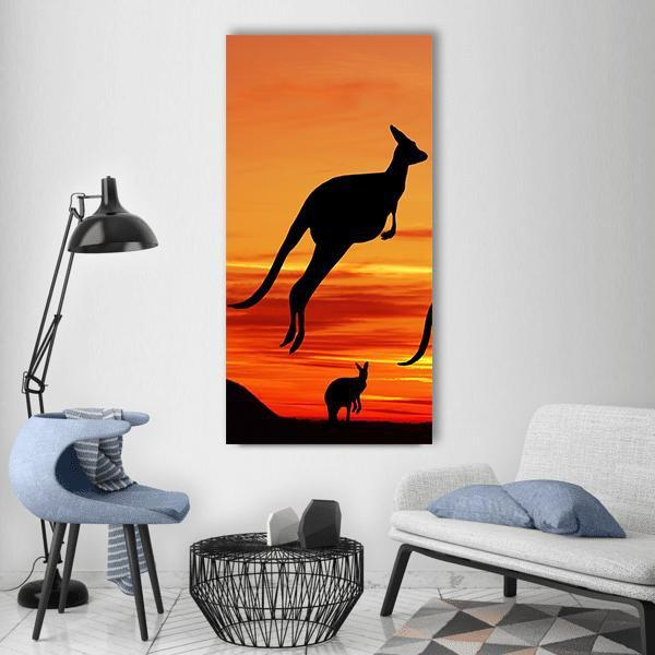 Kangaroos In Australian Landscape Vertical Canvas Wall Art 3 Vertical / Small / Gallery Wrap Tiaracle