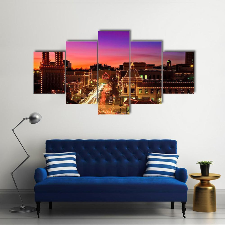Kansas City Plaza Christmas Lights Multi Panel Canvas Wall Art 3 Pieces / Medium / Canvas Tiaracle