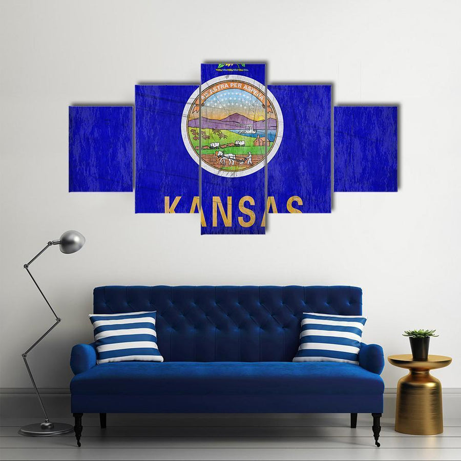 Kansas State Flag Multi Panel Canvas Wall Art 3 Pieces / Medium / Canvas Tiaracle