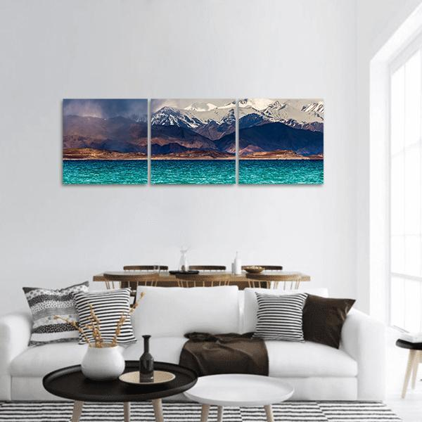 Karakul Lake In Pamir Tajikistan Panoramic Canvas Wall Art 1 Piece / Small Tiaracle