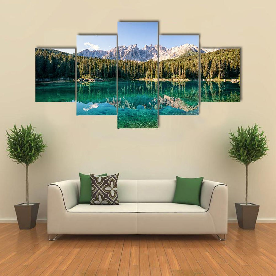 Karer Lake At The Dolomites In Italy Multi Panel Canvas Wall Art 4 Pieces / Medium / Canvas Tiaracle