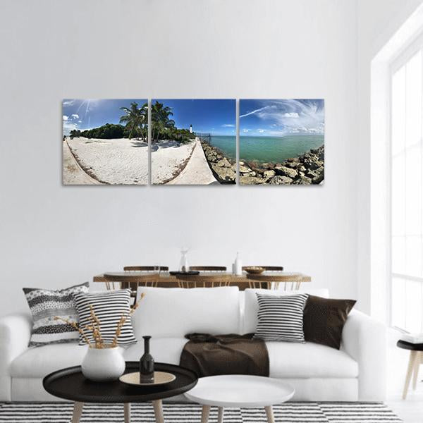 Key Biscayne Beach In Miami Florida Panoramic Canvas Wall Art Tiaracle