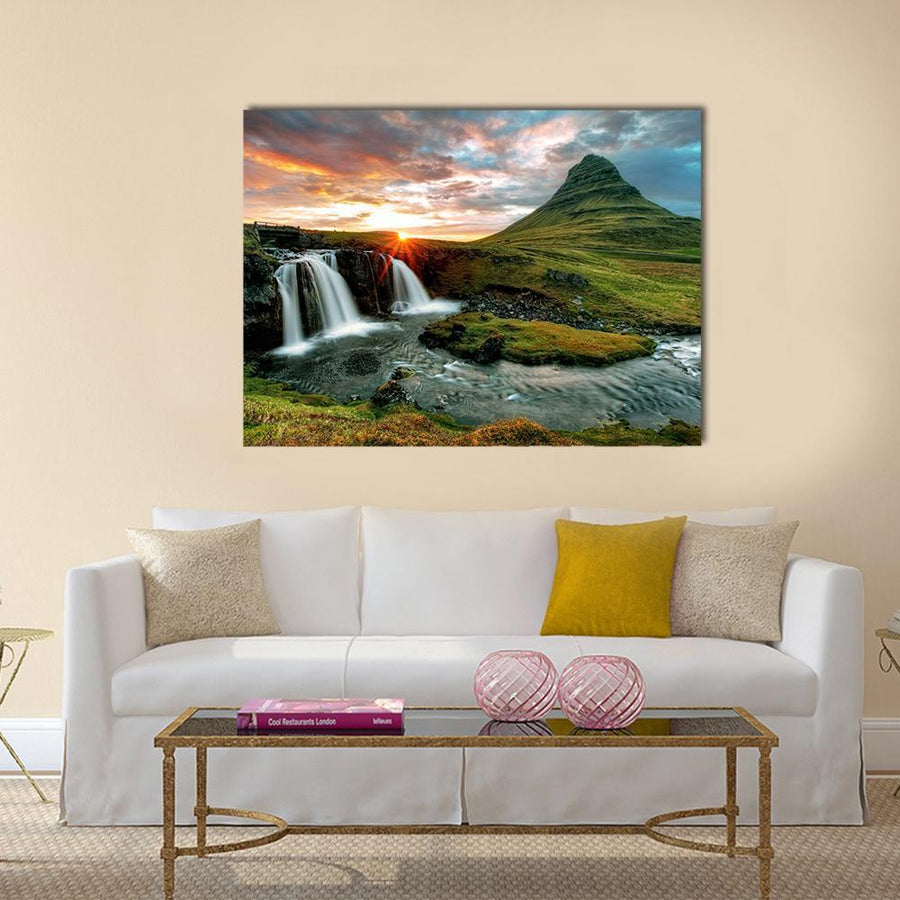 Kirkjufell Fall, Iceland Multi Panel Canvas Wall Art-4 Horizontal-Small-Gallery Wrap-Tiaracle