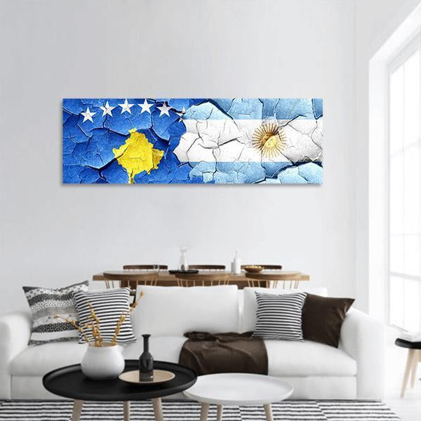 Kosovo Flag With Argentine Flag Panoramic Canvas Wall Art Tiaracle