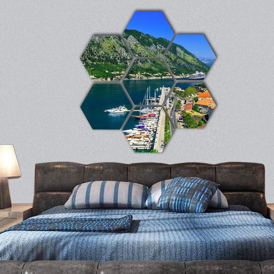 Kotor Bay And Old Town From Lovcen Mountain Hexagonal Canvas Wall Art 1 Hexa / Small / Gallery Wrap Tiaracle
