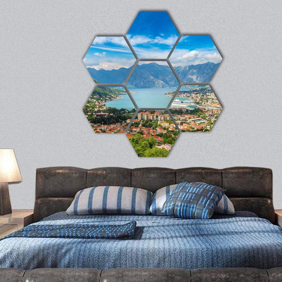 Kotor In A beautiful Summer Day Hexagonal Canvas Wall Art 1 Hexa / Small / Gallery Wrap Tiaracle