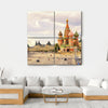 Kremlin & Cathedral Of St Basil Canvas Wall Art-4 Square-Small-Gallery Wrap-Tiaracle
