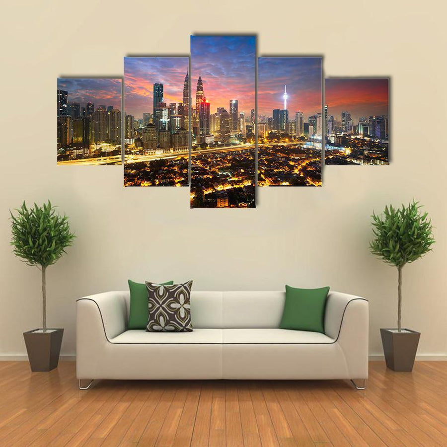 Kuala Lumpur Skyline Multi Panel Canvas Wall Art 5 Pieces(A) / Medium / Canvas Tiaracle