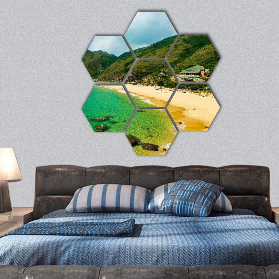 Ky Co Beach In Quy Nhon Hexagonal Canvas Wall Art 1 Hexa / Small / Gallery Wrap Tiaracle