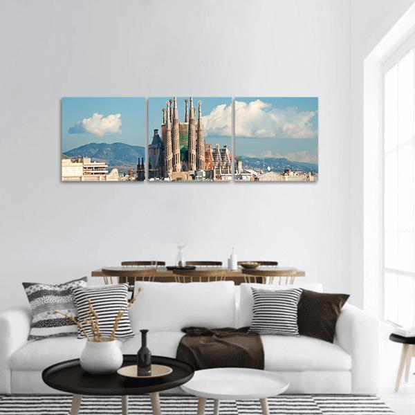 La Sagrada Familia Cathedral In Barcelona Panoramic Canvas Wall Art Tiaracle
