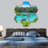 Lagoon In Buzios Hexagonal Canvas Wall Art 7 Hexa / Small / Gallery Wrap Tiaracle