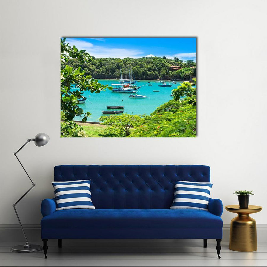 Lagoon In Buzios Multi Panel Canvas Wall Art-4 Horizontal-Small-Gallery Wrap-Tiaracle