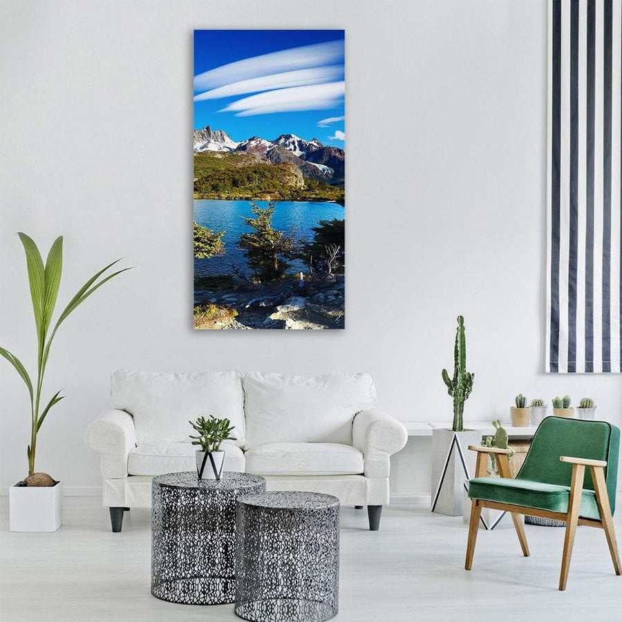 Laguna Capri And Mount Fitz Roy Vertical Canvas Wall Art 3 Vertical / Small / Gallery Wrap Tiaracle