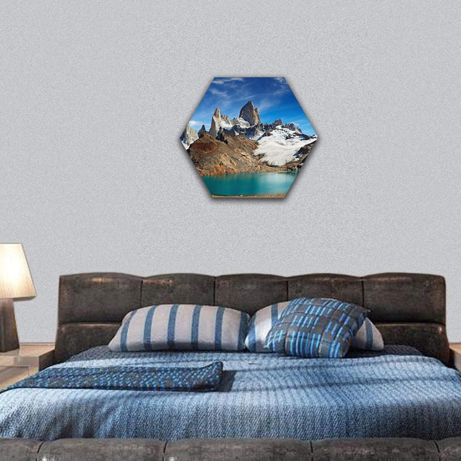 Laguna De Los Tres And Mount Fitz Roy Hexagonal Canvas Wall Art 7 Hexa / Small / Gallery Wrap Tiaracle