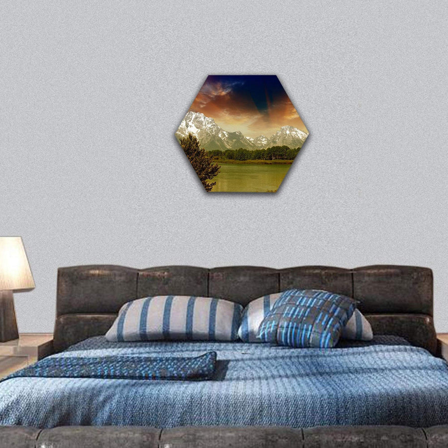 Lake And Mountain In Grand Teton National Park Hexagonal Canvas Wall Art 7 Hexa / Small / Gallery Wrap Tiaracle