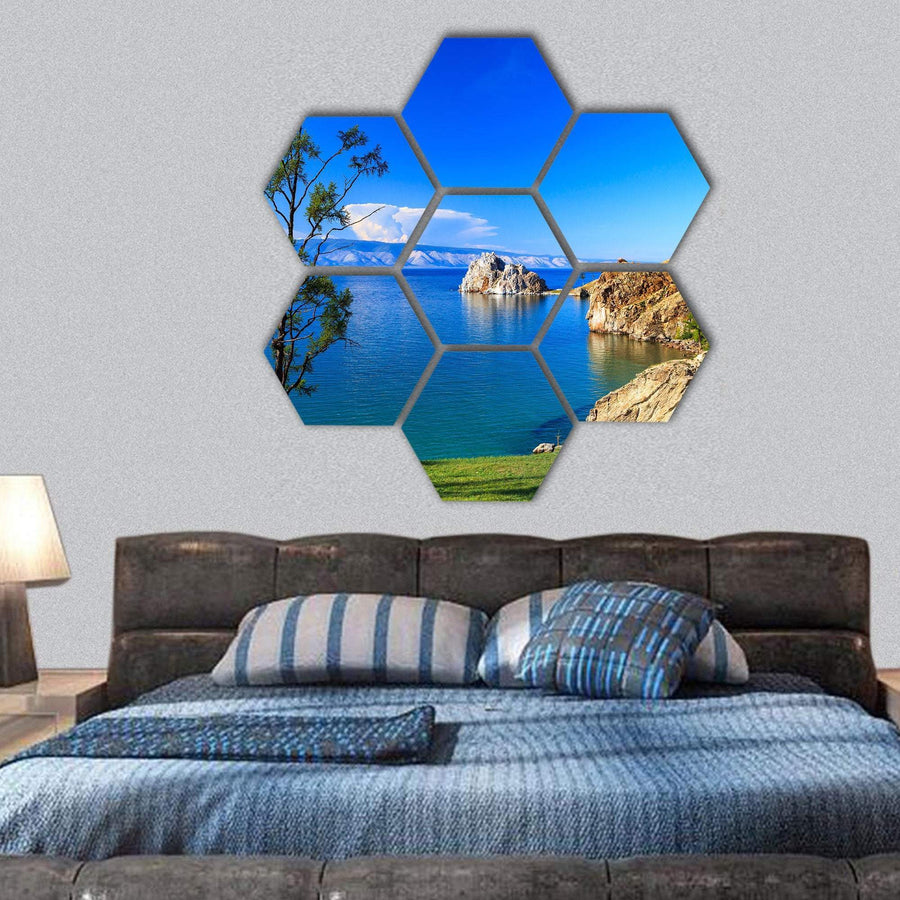 Lake Baikal In Olkhon Island Hexagonal Canvas Wall Art 1 Hexa / Small / Gallery Wrap Tiaracle