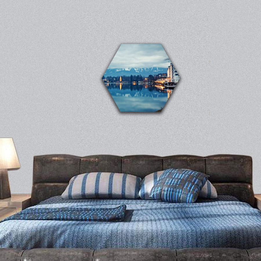 Lake Bled At Dusk Hexagonal Canvas Wall Art 7 Hexa / Small / Gallery Wrap Tiaracle