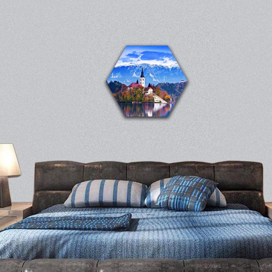 Lake Bled In Slovenia Hexagonal Canvas Wall Art 7 Hexa / Small / Gallery Wrap Tiaracle