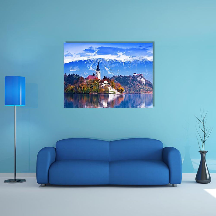 Lake Bled In Slovenia Multi Panel Canvas Wall Art 5 Horizontal / Small / Gallery Wrap Tiaracle