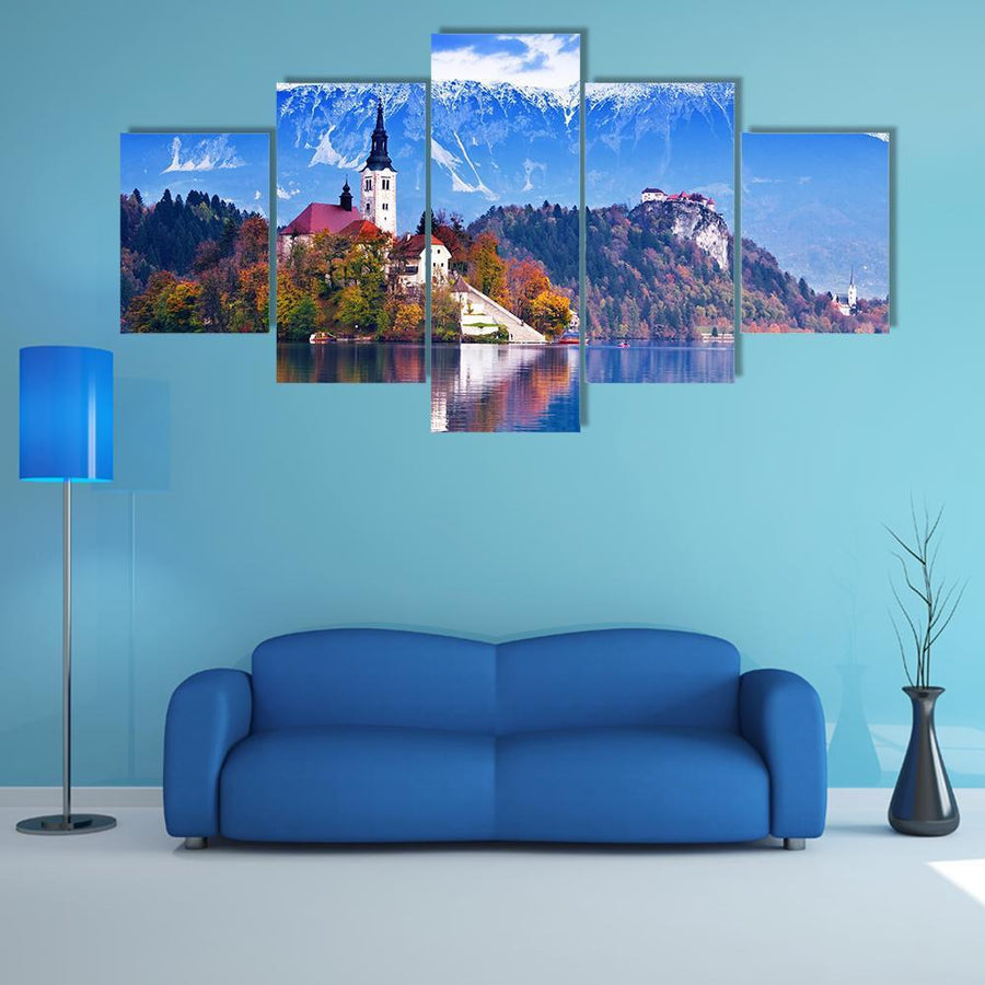 Bled With Lake Island And castle In Slovenia Multi Panel Canvas Wall Art 4 Pieces / Medium / Canvas Tiaracle