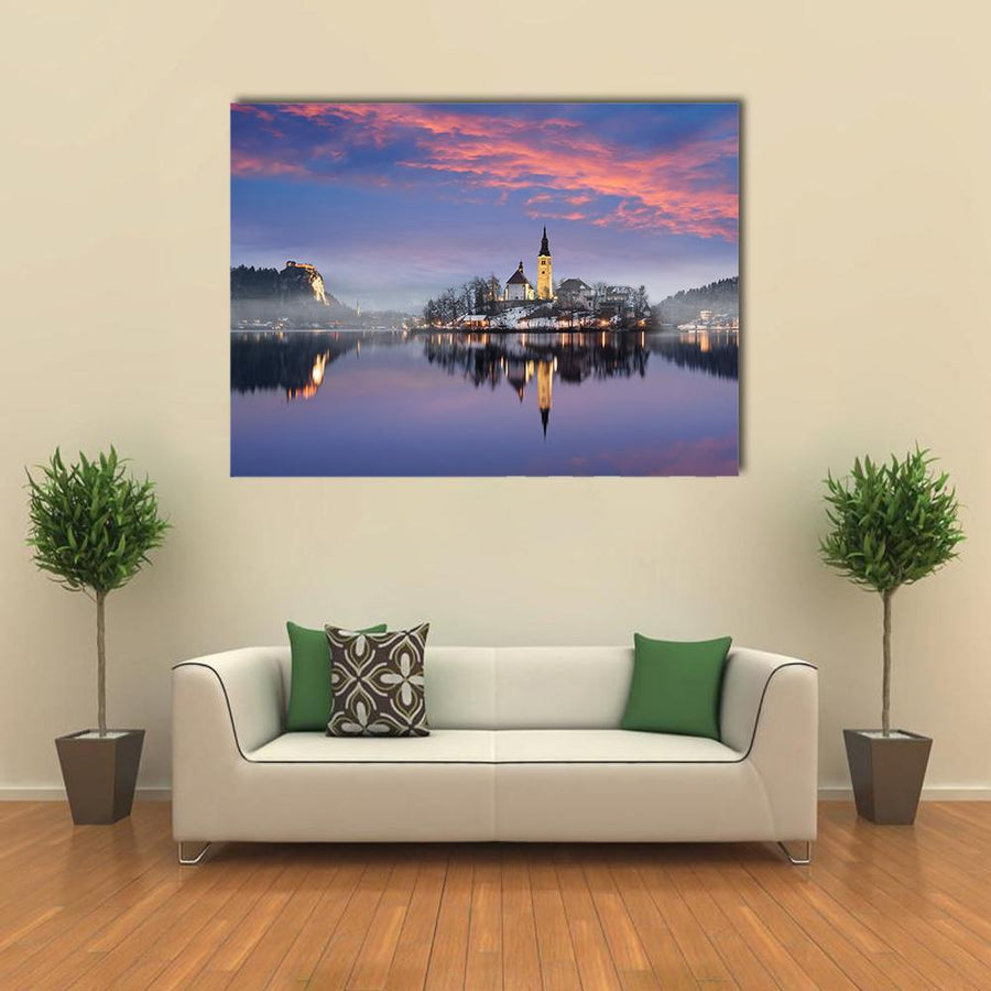 Lake Bled In Winter Canvas Wall Art-4 Horizontal-Small-Gallery Wrap-Tiaracle