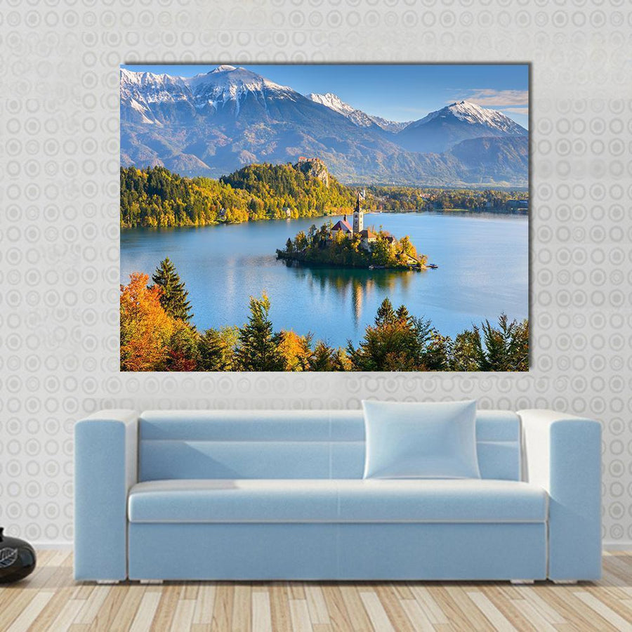 Lake Bled, Slovenia Canvas Wall Art-5 Horizontal-Small-Gallery Wrap-Tiaracle